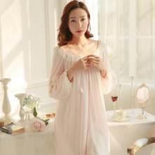 9954cf0f Corte algodón modal camisón femenino Qiu Dong princesa encaje sexy camisón  pijama de manga larga que restaura maneras antiguas l.