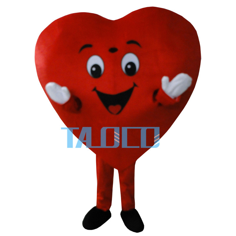 New Red Love Heart Mascot Costume Christmas Party Dress Adult Size Free Shipping