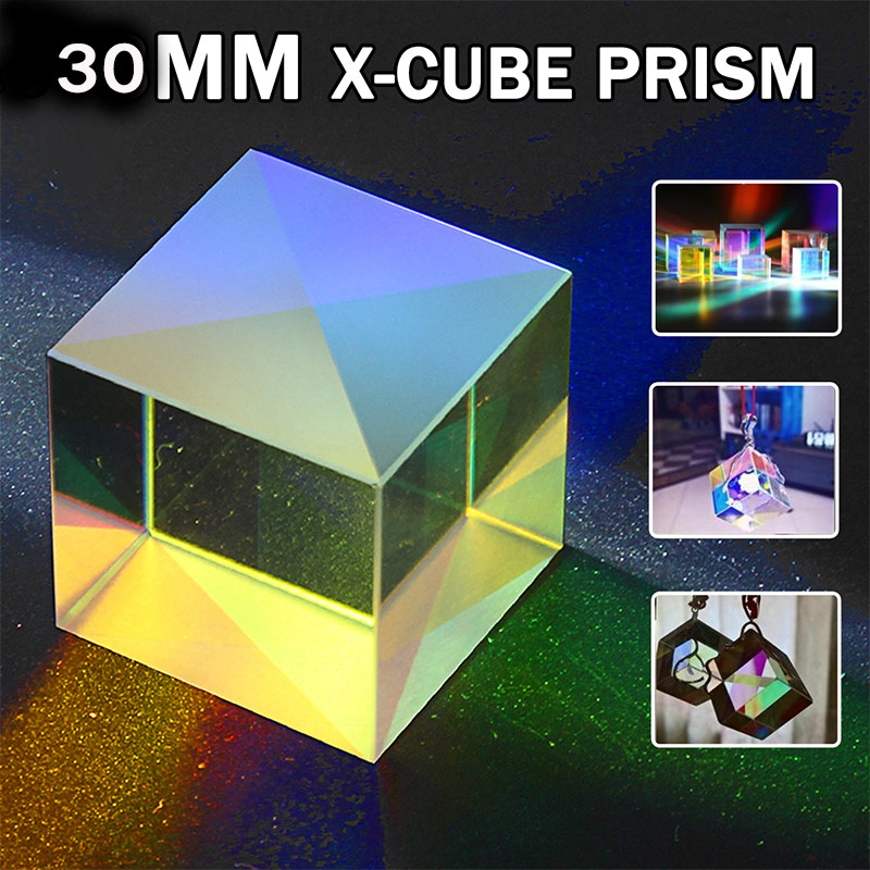 30x30x30MM RGB Prism Defective Optical Cross Dichroic X-Cube Combiner Splitter DIY Decor