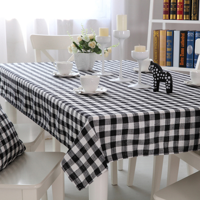 Paris Spring Modern Black And White Plaid Linen Table Cloths Bohemian  Southeastern Wallpapers High Quality