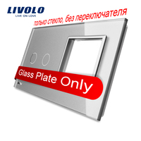Free Shipping Livolo Luxury Grey Crystal Glass 151mm 80mm EU Standard 2Gang 1 Frame Glass Panel