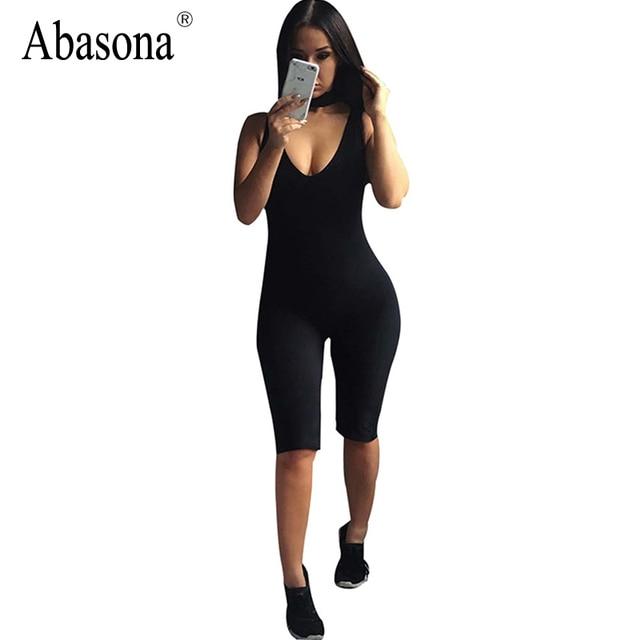 43f2ca98dac Abasona Bodycon Playsuit Sleeveless Bib Neck jumpsuits women Backless Tight  Sportsuit Yuga Fitness Clothing Slim Rompers