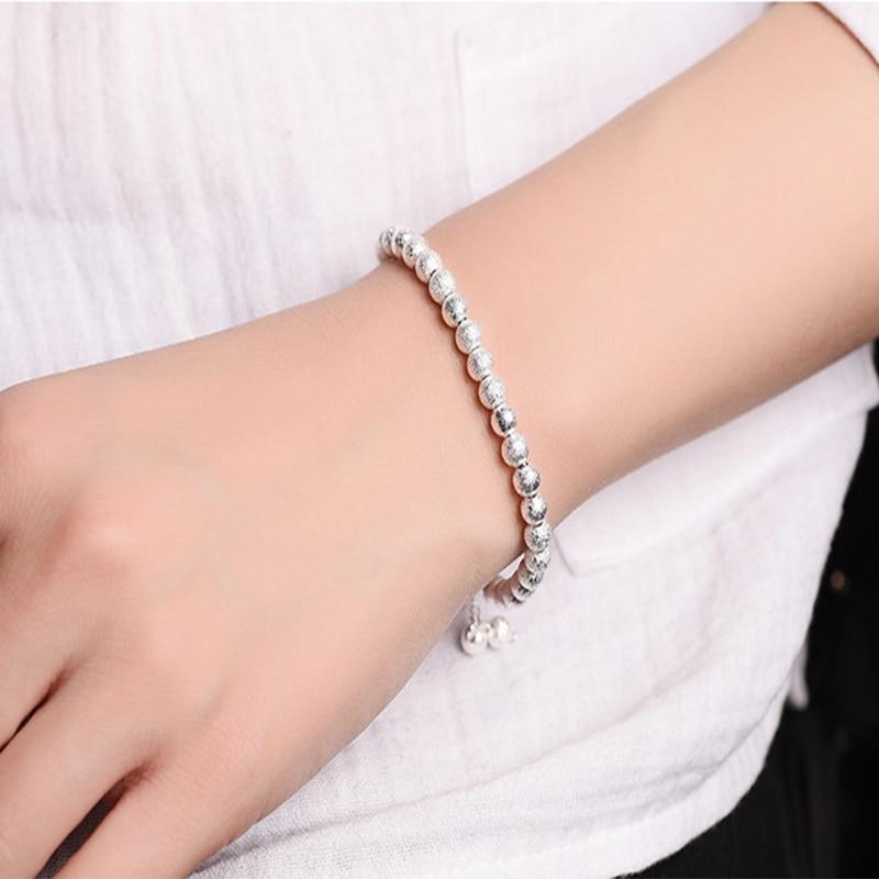 Luxury Brand font b Women b font Bracelet 925 Unique Silver Matt Ball Beads Charm Bracelet