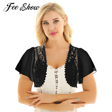 cdb7a21fcf90 2019 mujeres moda encogimiento de hombros Bolero corto camisa abrigo manga  corta Floral encaje transparente abierto