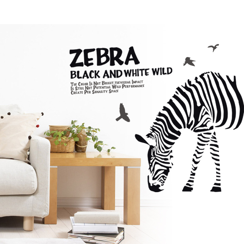 3D Wall Stickers Removable PVC Wall Decals Home Decor Stickers DIY Black White Zebra Animal Wall Sticker Office Poster