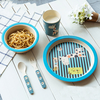 5pcs/set Character baby Plate bow cup Forks Spoon Dinnerware feeding Set,100% bamboo fiber Baby boy&girl tableware set ykd 13