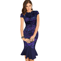 Vfemage Womens Elegant 1950s Vintage Flower Lace Fitted Stretch Bodycon Formal Party Mermaid Pencil Sheath Wiggle