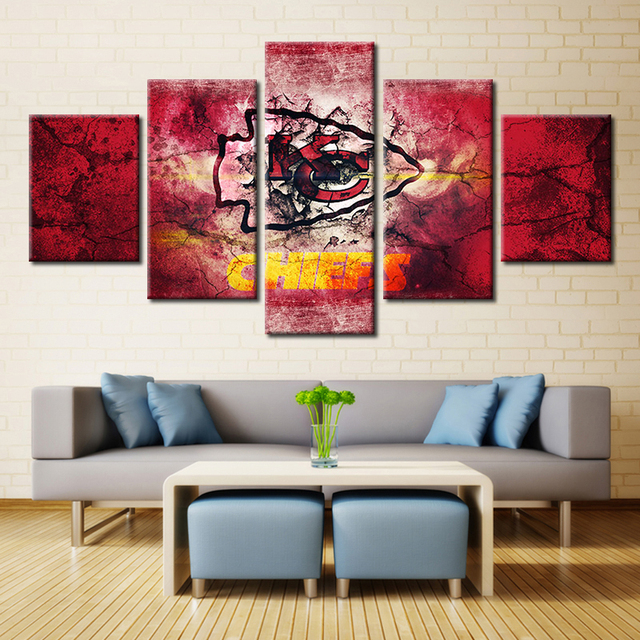 Forbeauty 5 Piece Canvas Painting Home Decor for Livingroom KC Chief ...