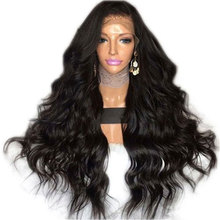 Bombshell Black Body Wave Synthetic Lace Front Wig Glueless Heat Resistant Fiber Hair Natural Hairline Free Part For Women Wigs