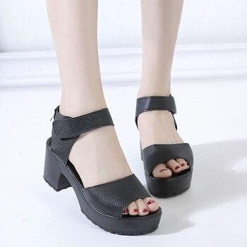 2415a79f Darmowa wysyłka buty kobieta 2019 lato kobieta sandały buty na wysokim  obcasie gruby obcas open toe sandały na platformie platforma białe