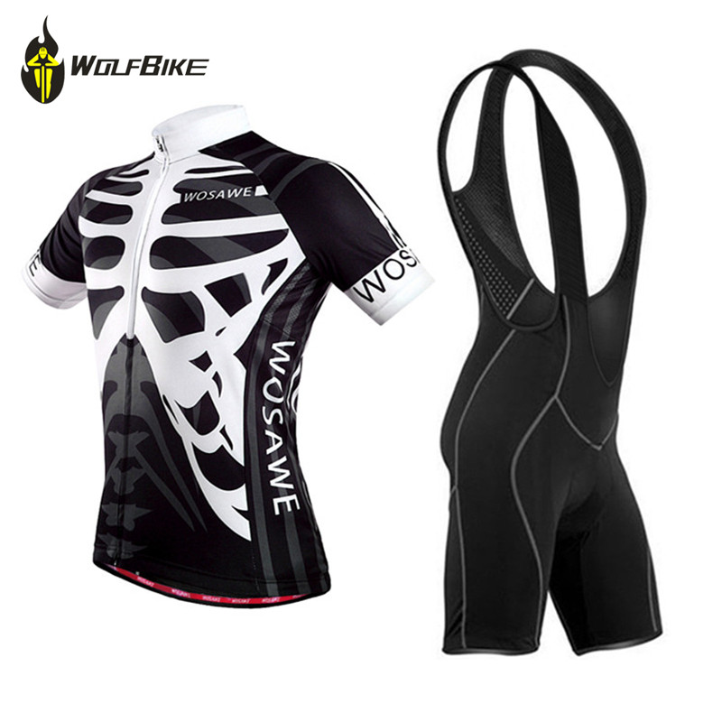 WOSAWE MTB Unisex Bike Cycling Clothes Short Sleeved Sets Jersey Shirt Bib Shorts Suit Bicycle Breathable Men's Cycling Clothing
