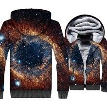 Space Galaxy 3D Print Hoodie Men Colorful Nebula Sweatshirt Harajuku Coat Winter Thick Fleece Paisley Stars Jacket Homme