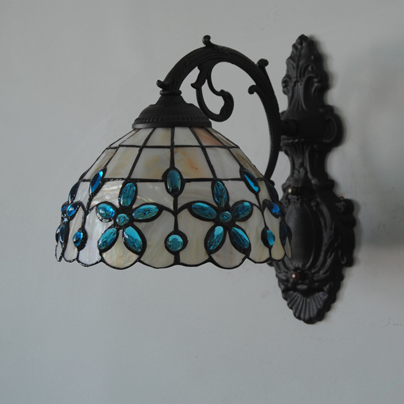11 Inch Mediterranean Tiffany Shell Wall Lamp Lights Classic Stained