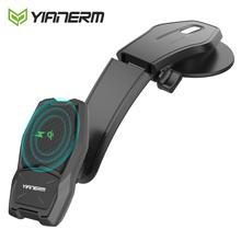 حامل تثبيت مغناطيسي لاسلكي للسيارة من Yianerm حامل مغناطيسي شاحن QI قياسي في السيارة لهاتف iPhone X Xs 8 Plus سامسونج S8 S7