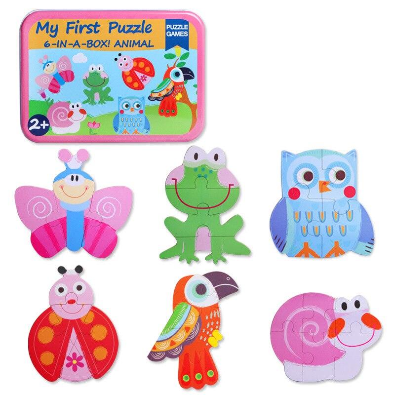 Mambobaby деревянные игрушки для детей милые животные коробка головоломки разведки Developme Классический Развивающие Игрушки Tangram доска