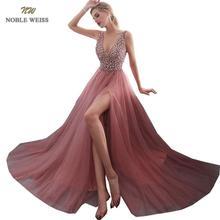 NOBLE WEISS dekolt w szpic suknia wieczorowa 2019 seksowna z kryształami frezowanie Split tiulowa sukienka na studniówkę długość podłogi suknia wieczorowa vestido longo festa