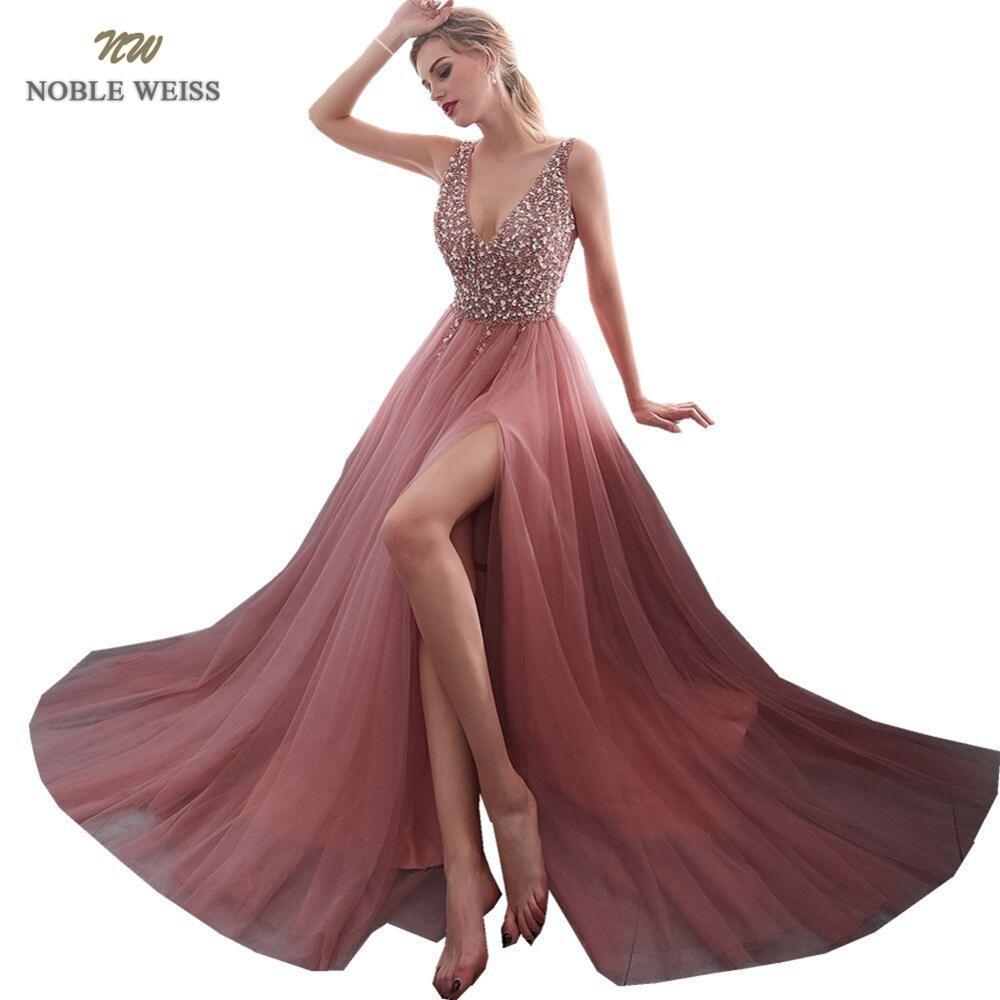 Noble weiss com decote em v vestido de noite 2019 sexy cristal beading dividir tule vestido de baile até o chão vestido de noite longo festa