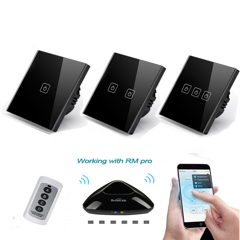 EU/UK Standard 1 2 3 Gang 220V Wireless Remote Control Light Switches, RF433 Remote Touch Wall Switch For Smart Home