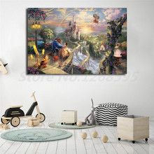 Thomas Kinkade Beauty And The Beast Dancing In Moonlight HD Painting Wall Art Print On Canvas Decorative Picture Home Decor