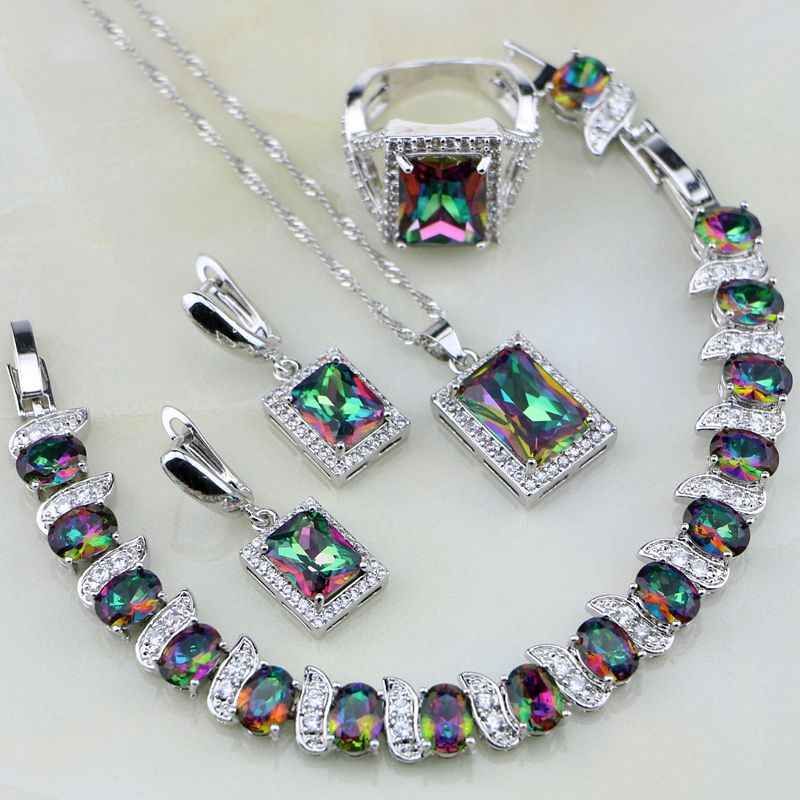 Square Rainbow Mystic Fire Crystal 925 Sterling Silver Jewelry Sets Women Wedding Necklace/Earrings/Bracelet/Pendant/Ring