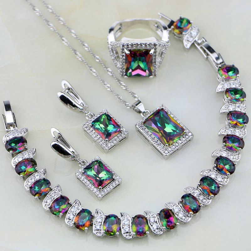 Square Rainbow Mystic Fire Crystal 925 Sterling Silver Jewelry Sets Women Wedding Necklace/Earrings/Bracelet/Pendant/Ring viennois new blue crystal fashion rhinestone pendant earrings ring bracelet and long necklace sets for women jewelry sets
