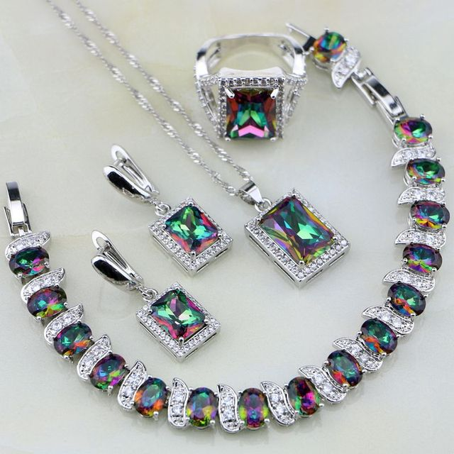 Square Rainbow Mystic Fire Crystal 925 Sterling Silver Jewelry Set