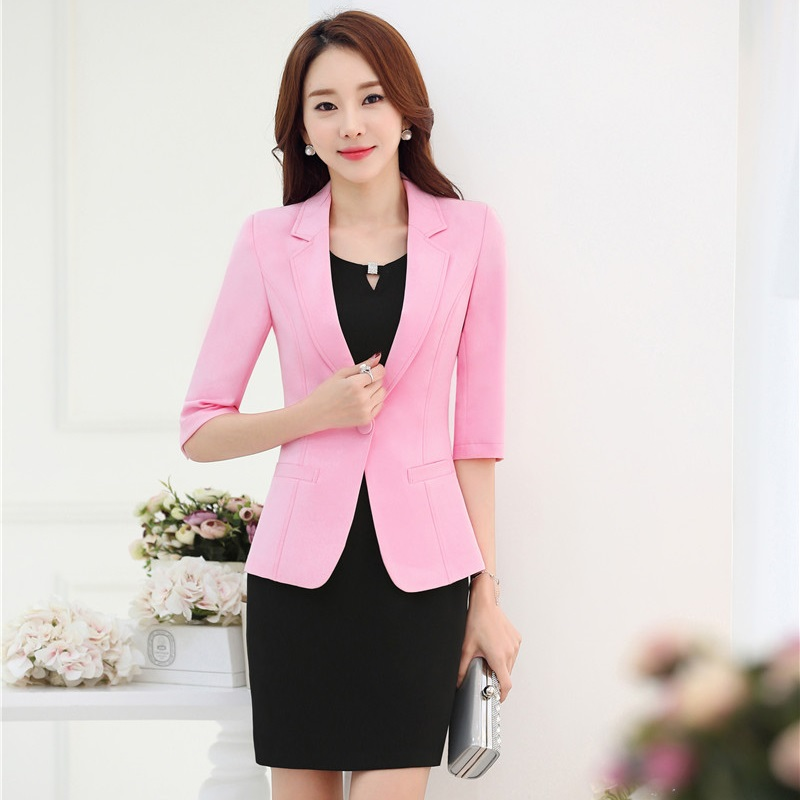 Plus Size 3XL Formal Uniform Design Professional Business Suits With Jackets And Dress for Ladies Office Blazers Outfits Pink