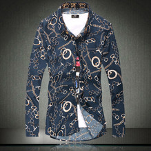 Brand New Men s Oversized Casual Shirt Social Floral Print Shirt Full Sleeve Turn Down Collar