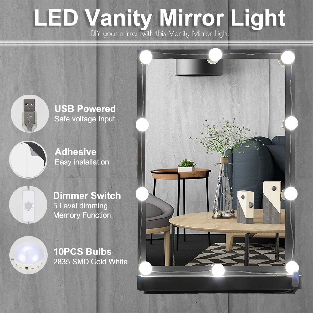 Usb powered makeup mirror vanity led light 10 bulbs kit brightness usb powered makeup mirror vanity led light 10 bulbs kit brightness adjsutable with switch for dressing table diy mirror light in led night lights from aloadofball Image collections