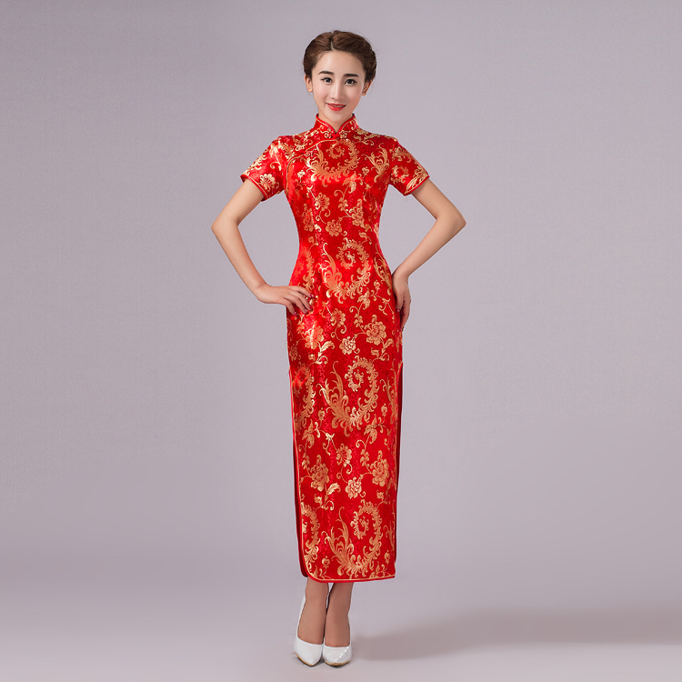 2017New Arrival Red Chinese Traditional Dress Women Silk Satin Cheongsam Long Dripping Qipao Size S M L XL XXL XXXL 11colors In Cheongsams From Novelty