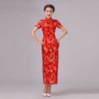2017New Arrival Red Chinese Traditional Dress Women Silk Satin Cheongsam Long Dripping Qipao Top Size S