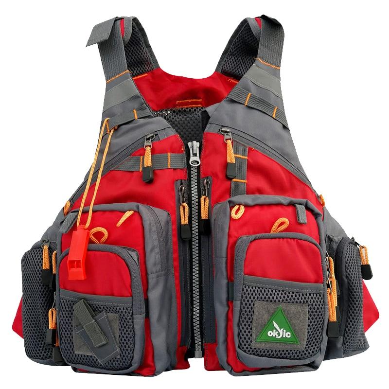 Men Red Fly Fishing Vest Utility Vest  Life Jacket Safety Waistcoat Cargo Pockets Fishing Backpack