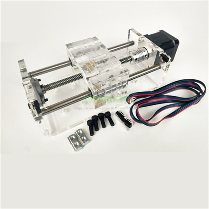 TR8x8 Lead Screw Z Axis CNC Linear Slider Slide Rail Effective Stroke 100-300mm With Second NEMA17 Stepper Motor