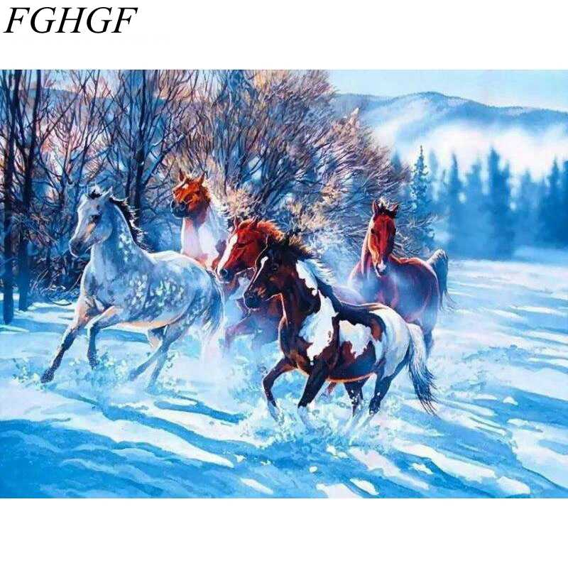 FGHGF  Abstract Snowing Horse Frameless Picture Painting Calligraphy DIY Oil Painting By Numbers Coloring By Number