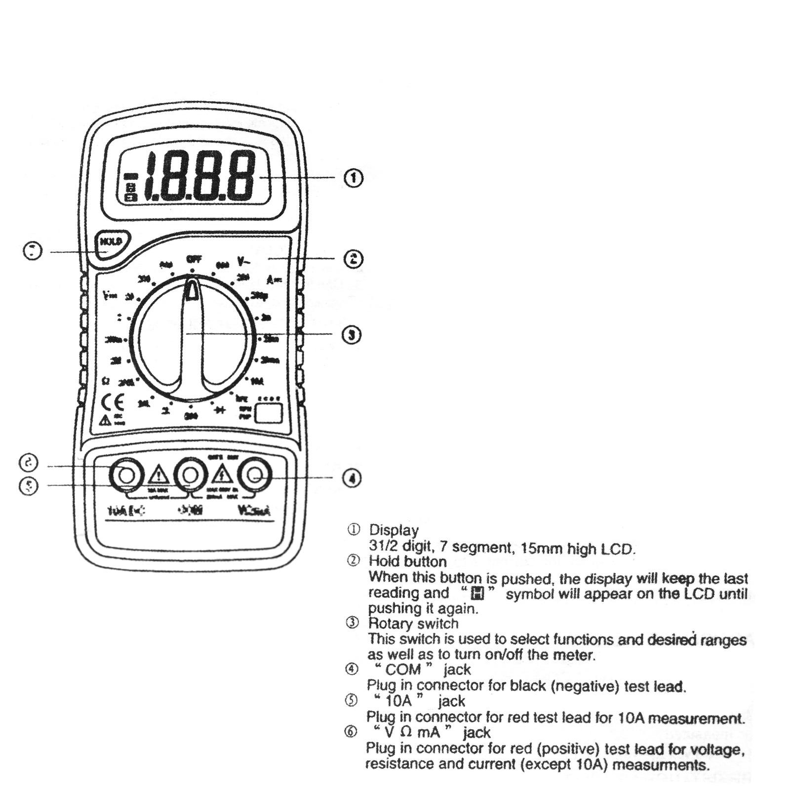 Portátil multímetro Digital de Fondo AC/DC voltímetro