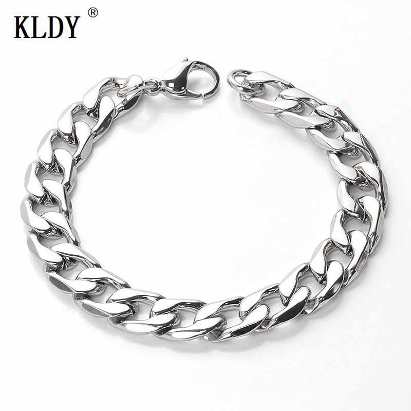 KLDY HipHop Stainless Steel Chain Bracelets Silver Color 316L steel chain Jewelry women men couple bracelet wholesaler best gift