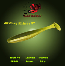 "New Fishing Lure 2018 Soft Esfishing Es Easy Shiner 3 ""12pcs 7.6cm / 2.6g Plastics ماهیگیری زمستانی پلاستیک سیلیکون طعمه Pesca Iscas Tackle"