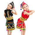 Girls Miao Clothing Hmong Clothes Chinese Folk Dance Costume for Child Traditional Chinese Costume Top Skirt with Hats