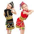 Meninas Roupas Hmong Miao Roupas de Dança Popular Chinesa Traje para Criança Traje Tradicional Chinesa Top Saia com Chapéus