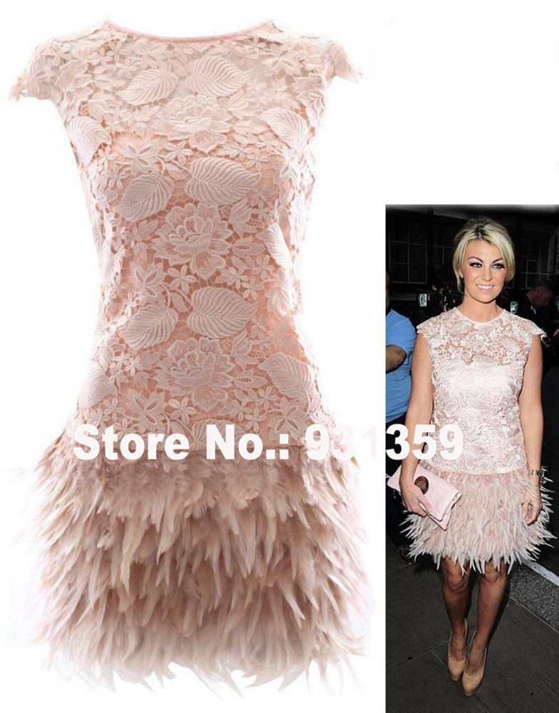 Ostrich Feather Dress Lace Cap Sleeve Mini Short Custom Made Party ...