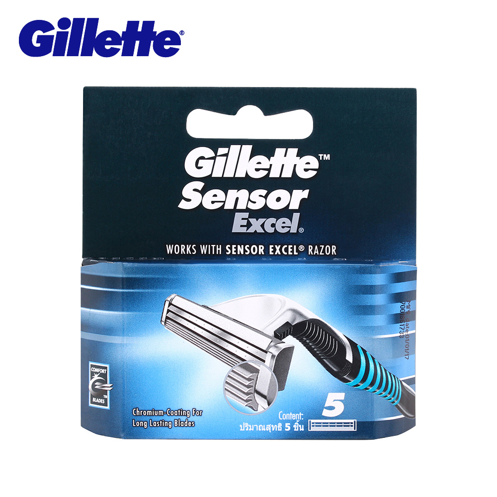 Gillette Sensor Excel Lame di Rasoio 5 pz/pacco Rasoio Da Barba Lame di Ricambio Testine Rasoio Per Gli Uomini Doppio Bordo Rasoio di Sicurezza