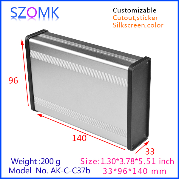 10 pcs/lot 33x96x140mm extruded aluminum enclosures in dark grey color which fit PCB size 25 x 85 mm with box holders 215 52 263 mm w h l aluminum extruded enclosures housing project box case