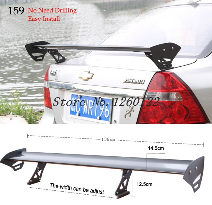 Fit sedan three box auto car rear spoiler wings universal for Wing motors automobiles miami fl