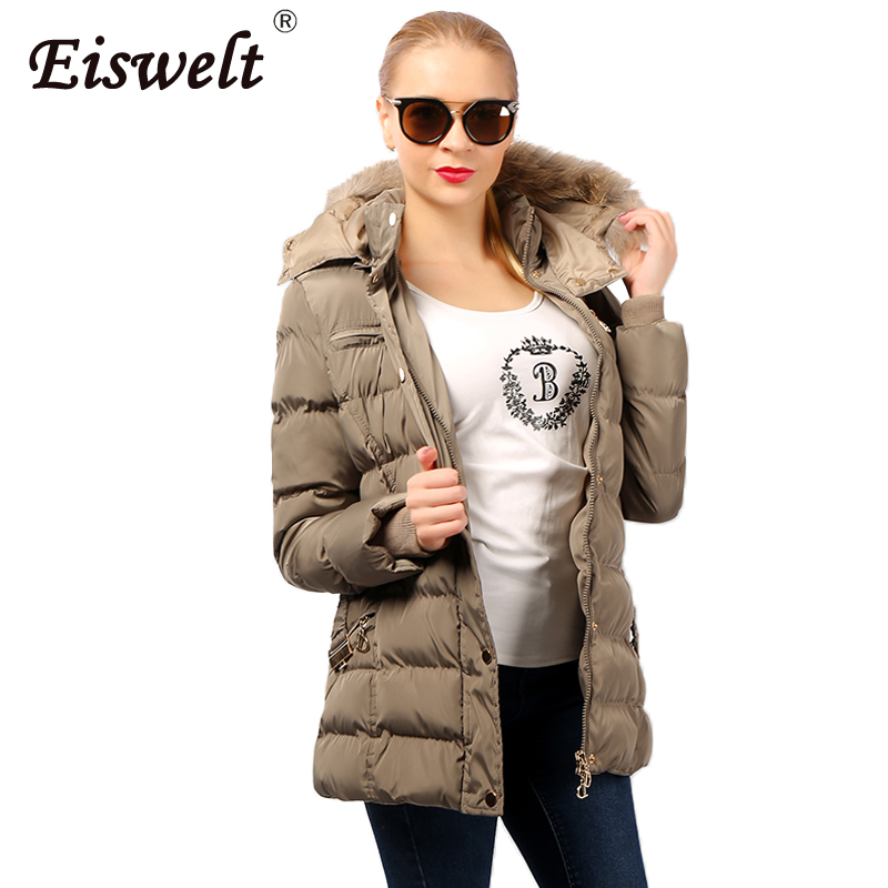 Thick Down Women Parkas 2017 Winter Women Jacket Hooded Fur Coats Waist Slim Mid-long Jackets Women Cotton Padded Outwears high grade big fur collar down cotton winter jacket women hooded coats slim mrs parkas thick long overcoat 2017 casual jackets