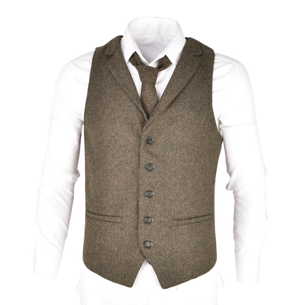 VOBOOM Blue Tweed Mens Vest Suit Modern Fit Wool Blend Single Breasted Herringbone Waistcoat Men Waist