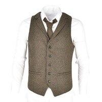 VOBOOM Woolen Tweed Suit Vest for Men Herringbone Slim Fit Premium Wool Blend Single breasted Waistcoat 018
