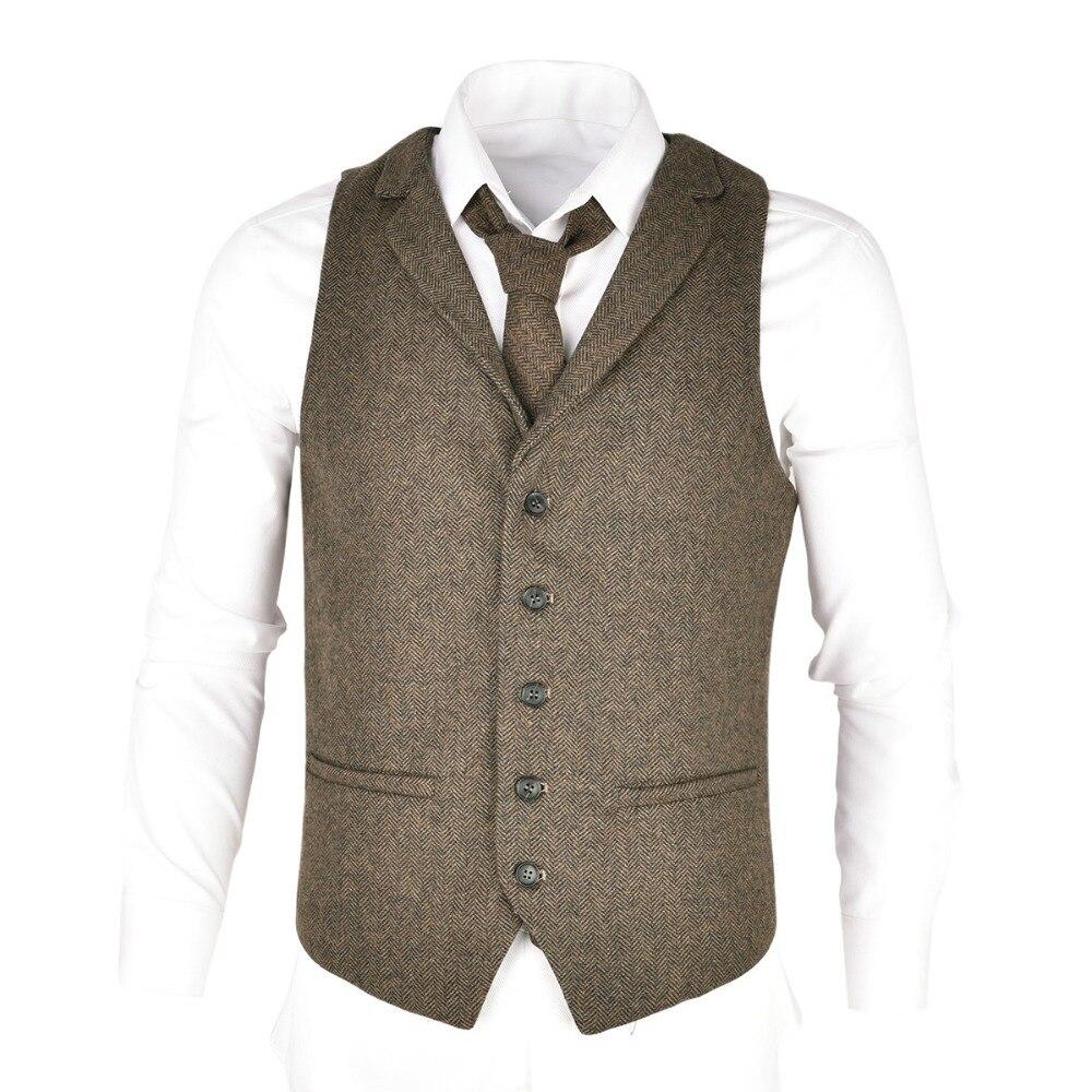 VOBOOM laine Tweed costume gilet pour hommes à chevrons Slim Fit Premium laine mélange simple boutonnage gilet 018