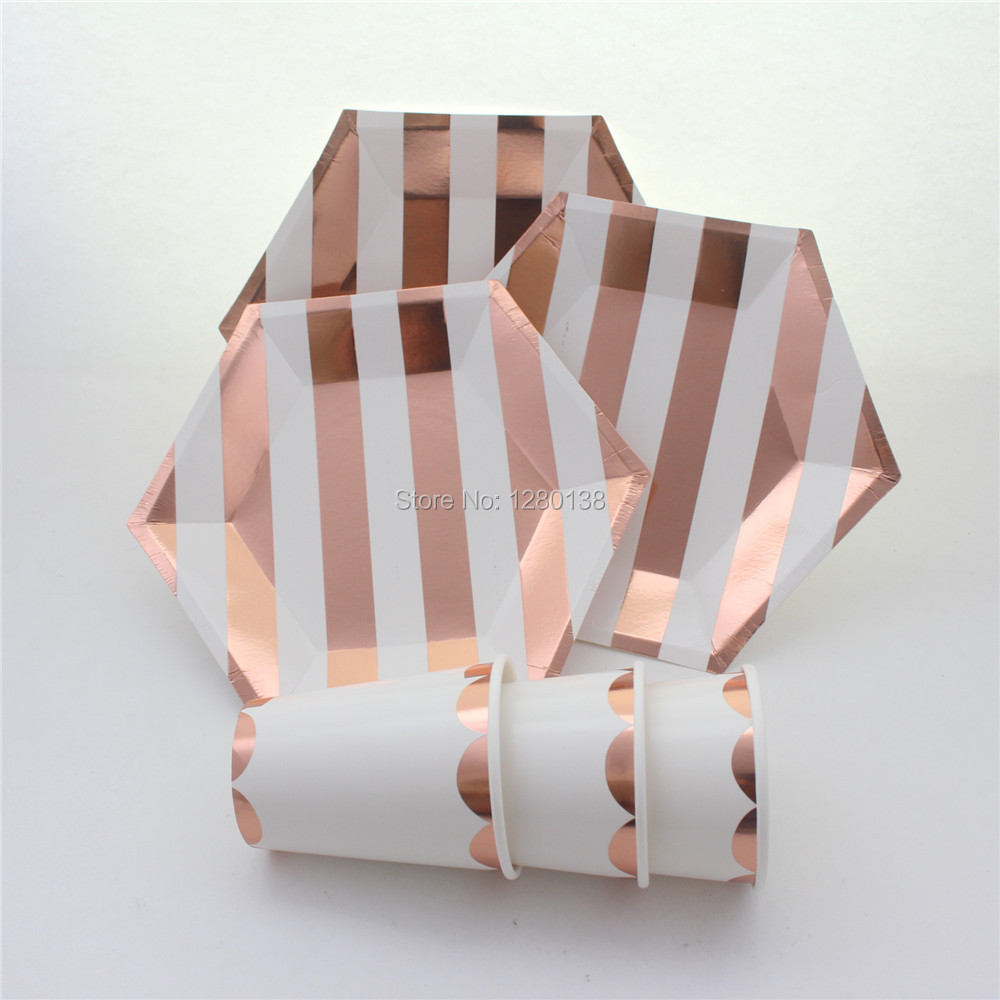 Buy foil rose gold striped tableware for Decoration rose gold