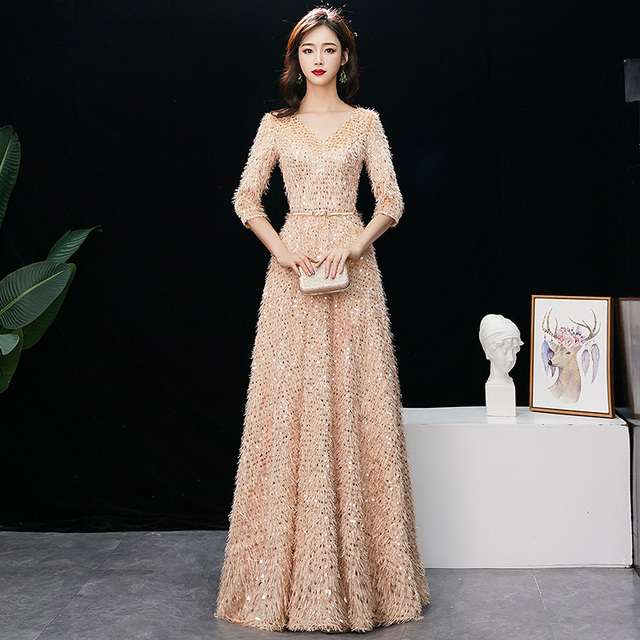 A-Line Evening Dress 2019 New Fashion Appliques Sequins Special Occasion  Dress Red Carpet Prom Dress Vestido De Festa 93eb820548da