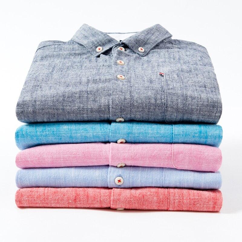 2018 New Arrival High Quality Men Shirts Cotton Linen Long Sleeve Shirt Fashion Slim Fit Shirt Man Brand Clothing DS256 2